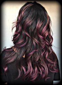 color melt dark hair and purple