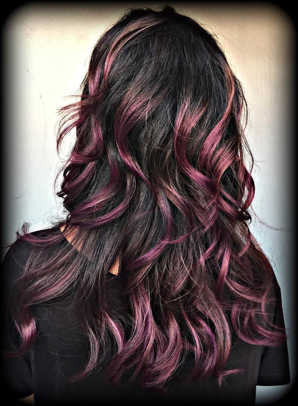 Color Melt Dark Hair Purple Basin Street Hair Salon Newport Beach
